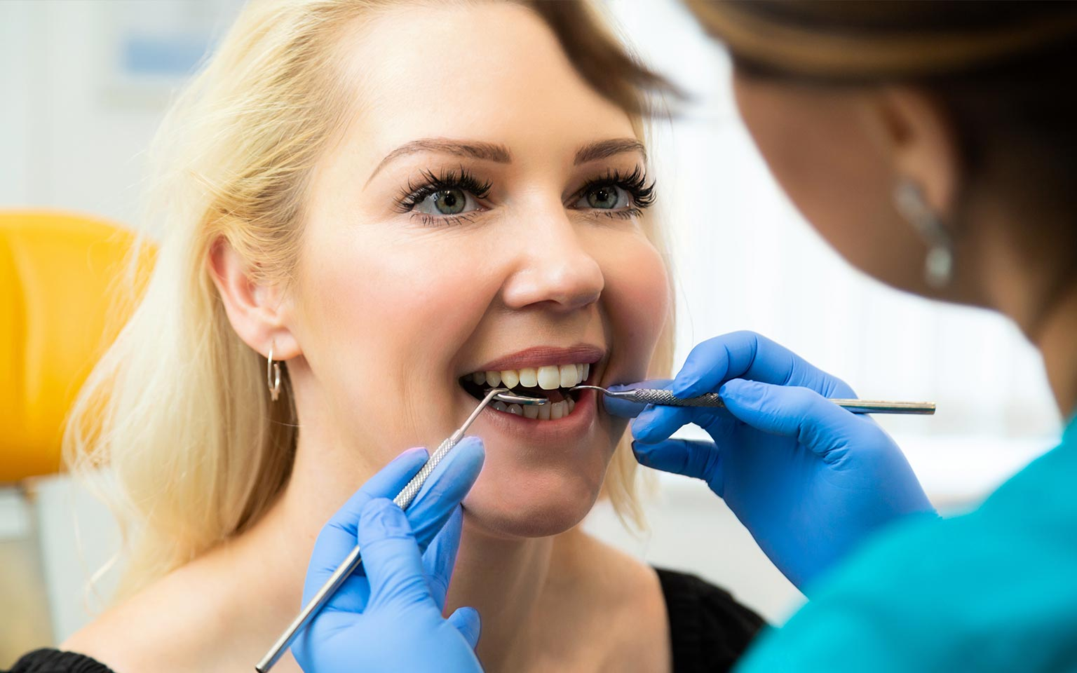Close up dental inspection